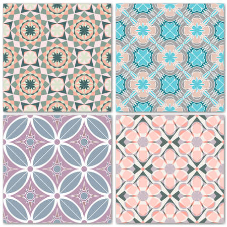 pastel shades: Set of 4 decorative mosaic seamless patterns. Endless prints with geometric ornaments in light pastel shades. Colorful repeating artistic backdrop. For cloth design, covers, wallpaper, wrapping