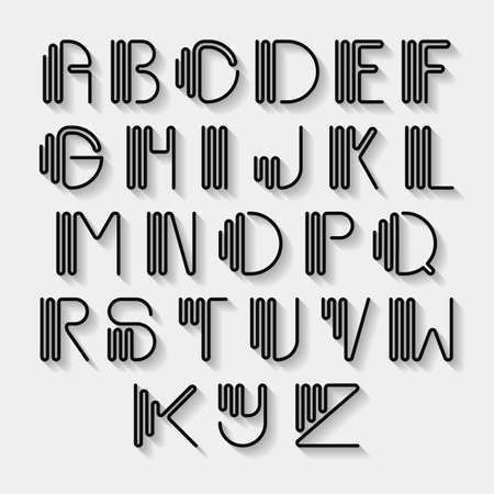 uppercase: Original curved latin alphabet set. Linear uppercase modern font, typeface, english alphabet with long shadow effect. Contemporary vision of vintage Art Deco typography style. Vector design element