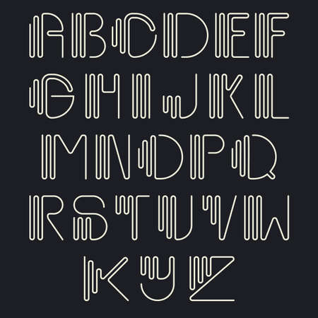 Original curved latin alphabet set. Linear uppercase modern font, typeface, english thin white alphabet isolated on black background. Contemporary vision of vintage Art Deco typography style.