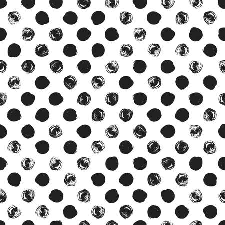 rough: Seamless polka dot pattern. Dry brush painted circles with rough edges. Trendy hipster texture. Hand drawn endless stylish backdrop. Black shapes on white background. Cloth design, wallpaper, wrapping