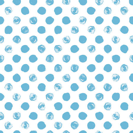 dry cloth: Seamless polka dot pattern. Dry brush painted circles with rough edges. Trendy hipster texture. Hand drawn endless stylish backdrop. Blue shapes on white background. Cloth design, wallpaper, wrapping