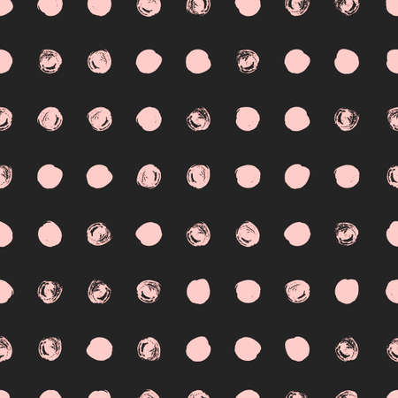ordered: Seamless polka dot pattern. Dry brush painted circles with rough edges. Trendy hipster texture. Hand drawn endless stylish backdrop. Pink shapes on black background. Cloth design, wallpaper, wrapping