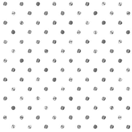 dry cloth: Seamless polka dot pattern. Dry brush painted circles with rough edges. Trendy hipster texture. Handdrawn endless stylish backdrop. Silver shapes on white background. Cloth design, wallpaper, wrapping