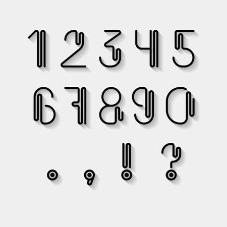 numerals: Numerals and punctuations set. Linear modern font with long shadow effect. Contemporary vision of Art Deco typography style. Vector design element. Uppercase of this set you can find in my gallery