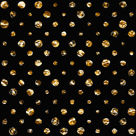 dry cloth: Seamless polka dot pattern. Dry brush painted circles with rough edges. Trendy hipster texture. Handdrawn endless stylish backdrop. Golden shapes on black background. Cloth design, wallpaper, wrapping Illustration