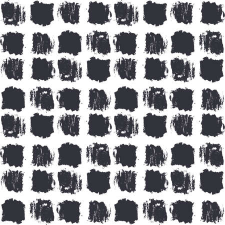 dry cloth: Seamless stylish pattern. Dry brush painted squares with rough edges. Trendy hipster texture. Handdrawn endless decorative backdrop. Black shapes on white background. Cloth design, wallpaper, wrapping