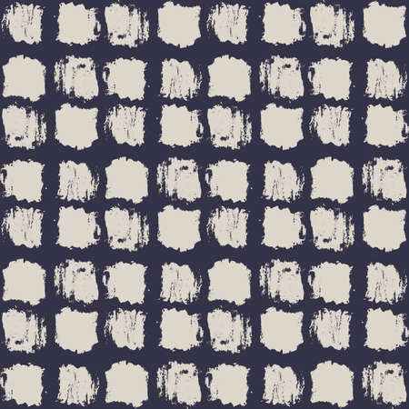 dry cloth: Seamless stylish pattern. Dry brush painted squares with rough edges. Trendy hipster texture. Handdrawn endless decorative backdrop. Beige shapes on black background. Cloth design, wallpaper, wrapping Illustration