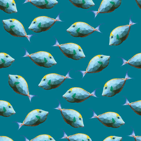 gill: Seamless pattern with polygonal unicornfishes. Triangle low polygon style. Endless backdrop with colorful white and yellow orange spine unicorn fishes on deep blue sea background