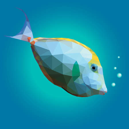 unicorn fish: Polygonal illustration of a tropical unicornfish. Triangle low polygon style. Beautiful geometrical illustration of white and yellow orange spine unicorn fish with air bubbles on blue sea background