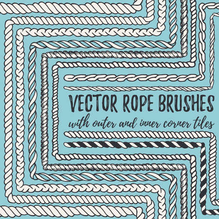 twine: hand drawn decorative seamless pattern Rope brushes with outer and inner corner tiles