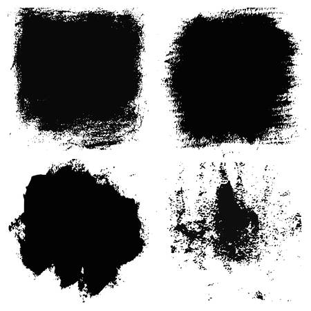 dry brush: Set of 4 artistic dry brush painted textures. Qualitative trace of real black paint. Black strokes isolated on a white background. Vector Illustration