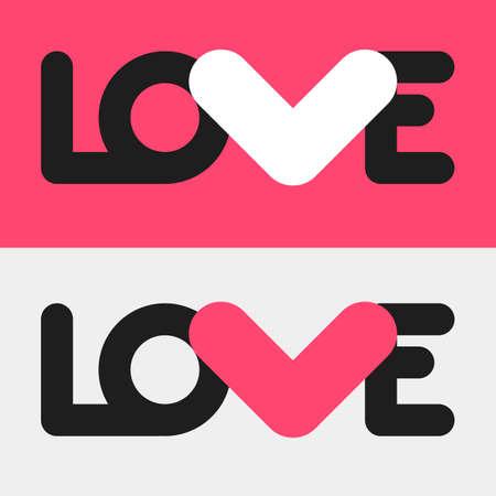 love letter: AMOR diseño plano simple. Cartel conceptual con la plantilla de amor logotipo en dos combinaciones de colores diferentes. Linear formas de texto y la letra V en una forma de un corazón. El amor de logotipo para un diseño romántico, boda Vectores