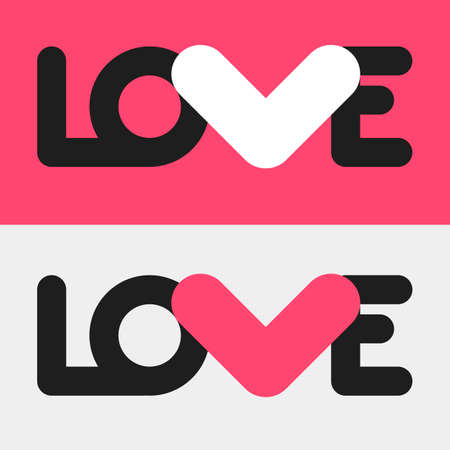 love letter: Simple flat LOVE design. Conceptual poster with love logo template in two different color combinations. Linear text shapes and letter V in a form of a heart. Love Logotype for romantic, wedding design Illustration