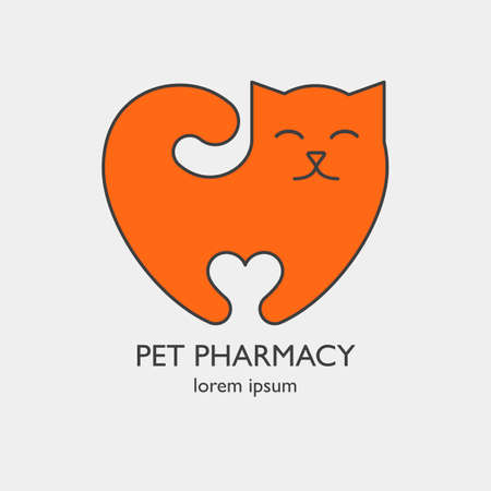 Single logo with a cat in a heart shape for veterinary clinic or pet shop. Simple flat icon easy to use and edit. Vector orange logo template isolated on white.
