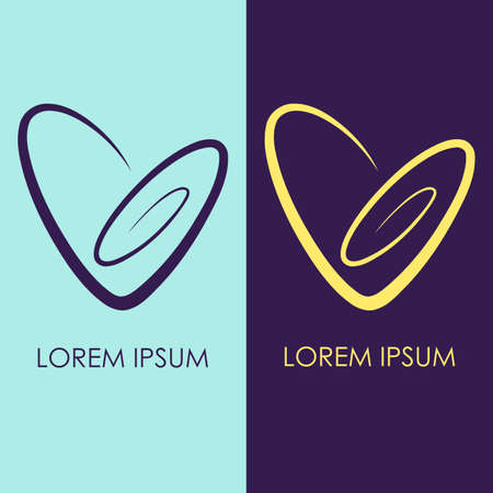 combinations: Set of 2 spiral Heart Logo. Simple clear linear icon. Vector logotype in two color combinations. Yellow, blue and violet. Love logo template for romantic or wedding design