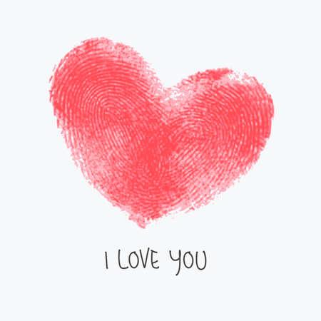 odcisk kciuka: Kreacja plakat z podwójnym sercem linii papilarnych. Czerwony realistyczne odcisk na białym i przykładowy tekst. Na ślub, miesiąc miodowy, Walentynki lub romantyczny projektu. Ślad realnego palec drukowania