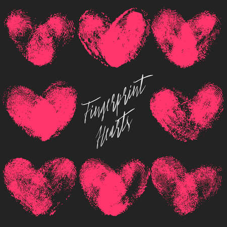 thumbprint: Set of 8 fingerprint hearts. Red realistic thumbprint isolated on black. For wedding, honeymoon, valentines day or romantic design. Qualitative trace of real finger print Illustration