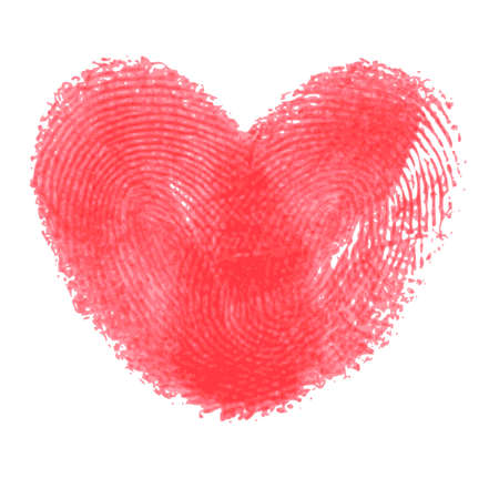 thumbprint: Creative poster with double fingerprint heart. Red realistic thumbprint isolated on white. For wedding, honeymoon, valentines day or romantic design. Qualitative trace of real finger print