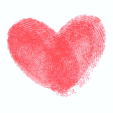 odcisk kciuka: Creative poster with double fingerprint heart. Red realistic thumbprint isolated on white. For wedding, honeymoon, valentines day or romantic design. Qualitative trace of real finger print