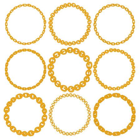 Conjunto de 9 marcos decorativos frontera del círculo. Cadena de oro coronas circulares para su uso como elemento decorativo, para la insignia o emblema. Diseño del círculo de marcos redondos. Estos pincel de modelo se puede encontrar en mi lista Ilustración de vector