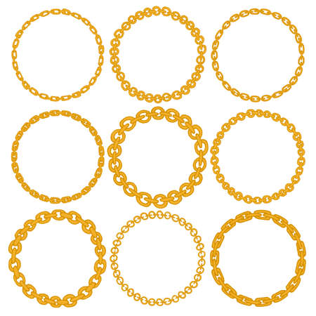 Set Of 9 Decorative Circle Border Frames. Gold Chain Round Wreaths ...