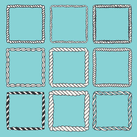 Set of 9 decorative square border frames. Square frames wreaths for use as a decorative element, for logo, emblem. Square pattern, square border. These pattern brush you can find in my portfolio Illustration