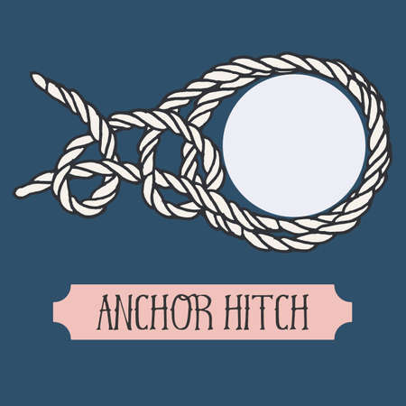 hand knot: Single illustration of nautical knot. Anchor Hitch. Sailor knot. Nautical rope sign. Artistic hand drawn element. Marine rope knot. Tying the knot. Graphic design element for invitations, cards, logo Illustration