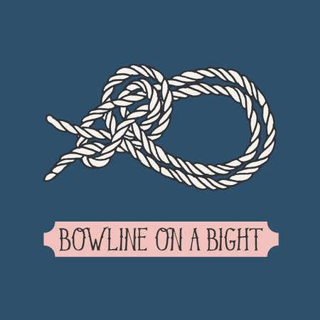 illustration unique de noeud nautique. Bowline sur un Bight. noeud marin. Signe de corde nautique. main artistique élément dessiné. Marine noeud de corde. Attacher le noeud. Graphic element de conception pour des invitations, des cartes
