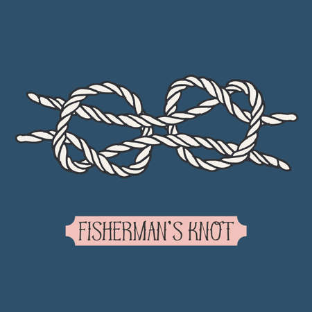 hand knot: Single illustration of nautical knot. Fishermans knot. Sailor knot. Nautical rope sign. Artistic hand drawn element. Marine rope knot. Tying the knot. Graphic design element for invitations, cards
