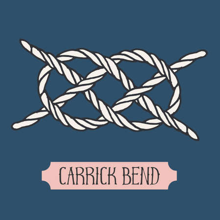 hand knot: Single illustration of nautical knot. Carrick Bend. Sailor knot. Nautical rope sign. Artistic hand drawn element. Marine rope knot. Tying the knot. Graphic design element for invitations, cards, logo