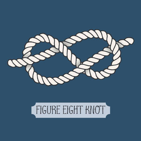Single illustration of nautical knot. Figure Eight Knot. Sailor knot. Nautical rope sign. Artistic hand drawn element. Marine rope knot. Tying the knot. Graphic design element for invitations, cards Illustration