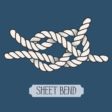 hand knot: Single illustration of nautical knot. Sheet Bend. Sailor knot. Nautical rope sign. Artistic hand drawn element. Marine rope knot. Tying the knot. Graphic design element for invitations, cards, logo