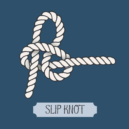 hand knot: Single illustration of nautical knot. Slip Knot. Sailor knot. Nautical rope sign. Artistic hand drawn element. Marine rope knot. Tying the knot. Graphic design element for invitations, cards, logo
