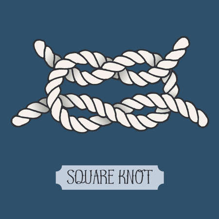 hand knot: Single illustration of nautical knot. Square Knot. Sailor knot. Nautical rope sign. Artistic hand drawn element. Marine rope knot. Tying the knot. Graphic design element for invitations, cards, logo Illustration
