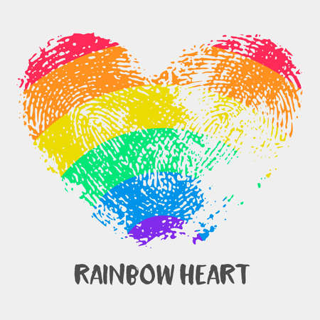 fingerprint card: Conceptual logo with fingerprint rainbow heart. Simple flat icon with heart stamp in rainbow colors of LGBT flag. Gay and lesbian support symbol. Heart mark for posters or prints devoted on LGBT theme Illustration