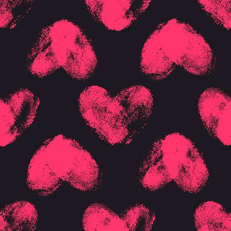 odcisk kciuka: Jednolite wzór z serca odcisków palców. Ręcznie rysowane kształty serca z ostrymi krawędziami. Trendy tekstury. Kompletne stylowe tło. Różowe Thumbprint serca na czarnym tle. Tkaniny, tapety, zawijania