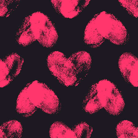 odcisk kciuka: Seamless pattern with fingerprint hearts. Hand drawn heart shapes with rough edges. Trendy texture. Endless stylish backdrop. Pink thumbprint hearts on black background. Fabric, wallpaper, wrapping