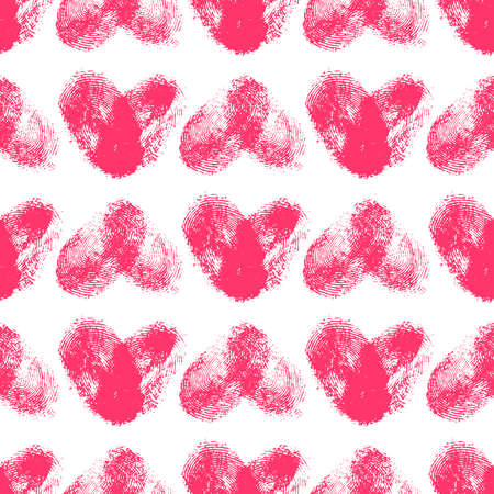 odcisk kciuka: Seamless pattern with fingerprint hearts. Hand drawn heart shapes with rough edges. Trendy texture. Endless stylish backdrop. Pink thumbprint hearts on white background. Fabric, wallpaper, wrapping