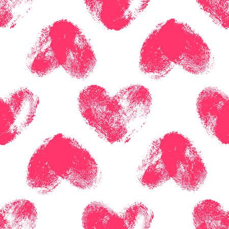 odcisk kciuka: Jednolite wzór z serca odcisków palców. Ręcznie rysowane kształty serca z ostrymi krawędziami. Trendy tekstury. Kompletne stylowe tło. Różowe Thumbprint serca na białym tle. Tkaniny, tapety, zawijania