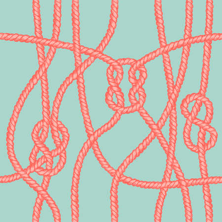 Marine rope knot seamless pattern. Endless navy illustration with red rope ornament and nautical knots on green background. For fabric, wallpaper, wrapping. Figure 8, sheet bend and square knots.