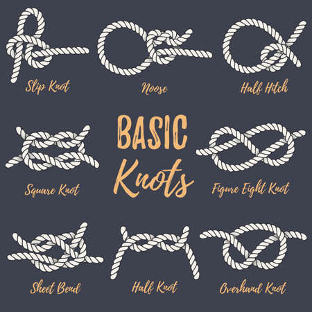 Set of nautical rope knots. Basic marine knots. Illustration for navy and nautical design. Hand drawn rope knots. Vintage elements for posters, prints and logo. Most used nautical rope knots bundle