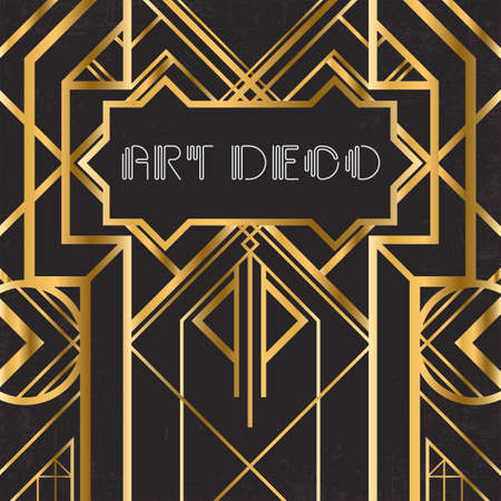 artdeco: Golden abstract geometric background. Art deco style, trendy vintage design element. Gold grill on a black messy backdrop. Decorative artdeco template with geometric parallel lines with gold gradient