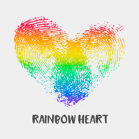Conceptual with fingerprint rainbow heart. Simple flat icon with thumb stamp in rainbow colors of LGBT flag. Gay and lesbian support symbol. Heart mark for posters or prints devoted on LGBT theme