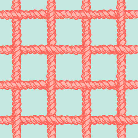 Marine rope net seamless pattern. Endless navy illustration with red rope ornament, horizontal and vertical cord strokes on green background. Trendy textured backdrop. For fabric, wallpaper, wrapping Illustration