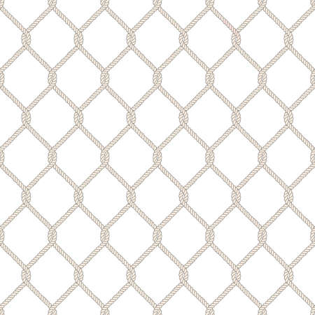 hand line fishing: Seamless nautical rope knot pattern. Endless navy illustration with beige fishing net ornament and twisted cord on white backdrop. Trendy maritime style background. For fabric, wallpaper, wrapping.