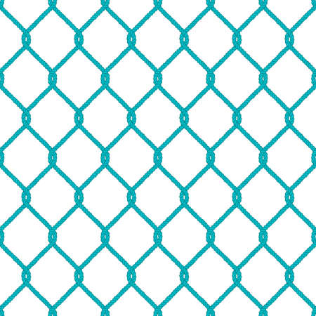 fishing net: Seamless nautical rope knot pattern. Endless navy illustration with green fishing net ornament and twisted cord on white backdrop. Trendy maritime style background. For fabric, wallpaper, wrapping.