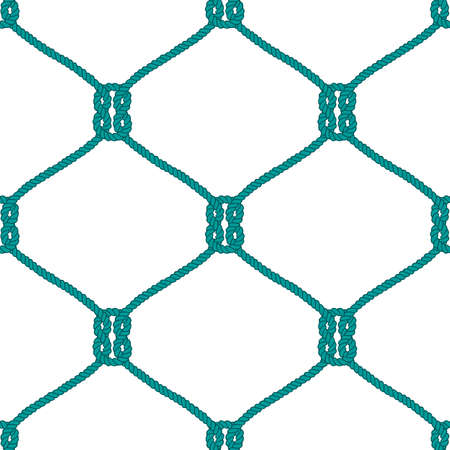 fishnet: Seamless nautical rope knot pattern. Endless navy illustration with green fishing net ornament and marine knots on white backdrop. Trendy maritime style background. For fabric, wallpaper, wrapping.