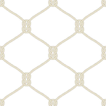 Seamless nautical rope knot pattern. Endless navy illustration with beige fishing net ornament and marine knots on white backdrop. Trendy maritime style background. For fabric, wallpaper, wrapping. Vettoriali