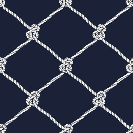 Seamless nautical rope knot pattern. Endless navy illustration with white fishing net ornament and marine knots on dark blue backdrop. Trendy maritime style background. For fabric, wallpaper, wrapping