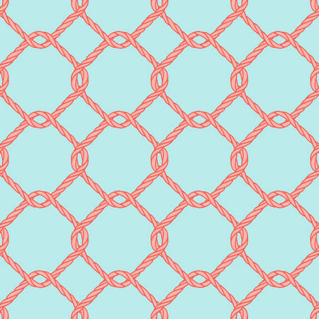 Seamless nautical rope knot pattern. Endless navy illustration with red fishing net ornament and twisted cord on blue backdrop. Trendy maritime style background. For fabric, wallpaper, wrapping. Illustration